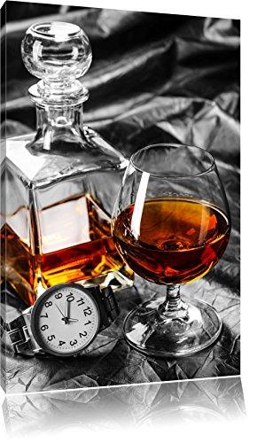 Man Things mit Whiskey und Uhr schwarz/weiß Format: 60x40 auf Leinwand, XXL riesige Bilder fertig gerahmt mit Keilrahmen, Kunstdruck auf Wandbild mit Rahmen, günstiger als Gemälde oder Ölbild, kein Poster oder Plakat
