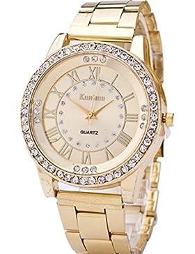 FEITONG Damenuhr Luxus Uhr Künstlich Kristallrhinestone Edelstahl Band Analoge Quarz Armbanduhr Golden