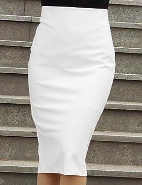 bodycon vendimia inelásticas faldas hasta la rodilla medias de las mujeres (mezclas de algodón) , l
