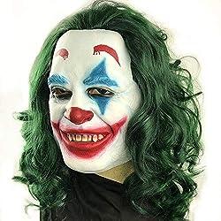 Máscara de Joker para adultos, Máscara de látex de cosplay de Halloween Joker 2019 con peluca verde
