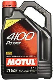 Motul 4100 Power SAE 5W30 API SM/CF Semi Synthetic Engine Oil for Petrol,Diesel,CNG & LPG Cars (3.