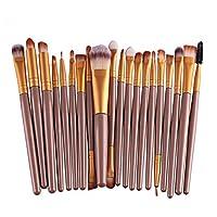 Youkara 20 pcs/set Pro Makeup Brush Set Eyeshadow Eyeliner Lip Brush Powder Foundation Tool (Gold)