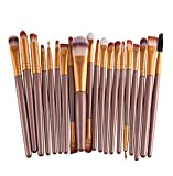 20 pinceaux de maquillage professionnels Leisial. Set de pinceau make-up fard à paupières, doré, 15.5×10×1 cm