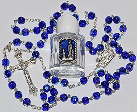 Blessed Bottle of Lourdes Water & Crystal Rosary Beads FROM LOURDES