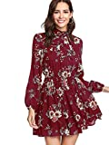 DIDK Damen Kleid Elegant Langarm Blumen Kleider Kurz Knielang Partykleid Casual für Herbst Frühling Rot Blumen 323 XS