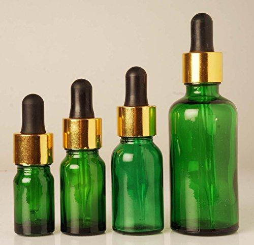 50 ml Green Boston Round Bottle Wholesale Glass Bottles Refillable Essential Oils Drop Bottles Empty Pipette Eye Dropper Vial Lot Of 6