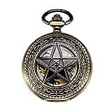 Treeweto Hollow meccanico orologio da tasca uomo stella a cinque punte scheletro bronzo numeri romani