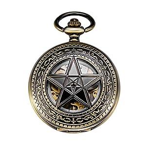 TREEWETO Taschenuhr mit Kette Herren Analog Handaufzug Retro Pentagramm Skelett Bronze