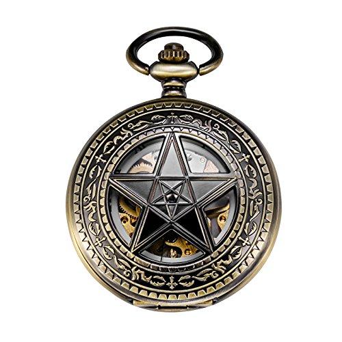 TREEWETO Taschenuhr mit Kette Herren Analog Handaufzug Retro Pentagramm Skelett Bronze (Herren-uhren Handaufzug)