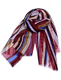 1c3379a5cfa4 iShine Mode Echarpe à Rayure Multicolore Foulard Féminine Fichu Long avec  Striures Imprimés Cache-nez