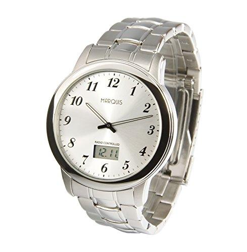 MARQUIS Herren Funkuhr, Gehäuse und Armband aus Edelstahl, deutsches Funkwerk, Armbanduhr 964.6147