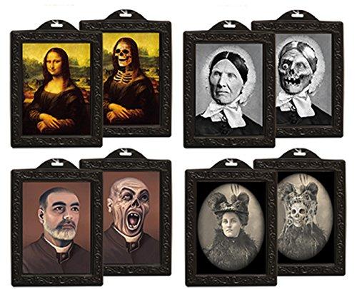 ween Party Dekoration - Grusel Hologramm Bild Bilderrahmen, 4 Stück, 25x38cm, Mehrfarbig ()