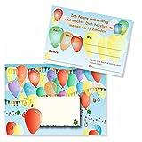 8 Einladungen zum Kindergeburtstag - Luftballons - beidseitig bedruckt, mit Einladungstext