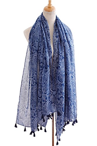 PB-SOAR Women's Soft Lightweight Paisley Scarf Cotton Scarves Shawl Sarong with Fringe