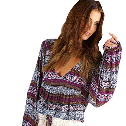 WOCACHI Damen Blusen Fashion Womens Sommer Boho Langarm V-Ausschnitt Casual Bluse Lose Tops Shirt Blau Violett