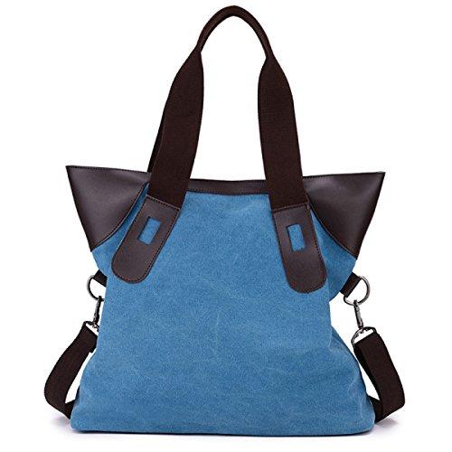 FZHLY Canvas Messenger Nuovo Grande Capacità Hit Colori Semplice Borsa Casuale,Beige Blue