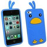 Kit Me Out FR Coque aspect velouté silicone pour Apple iPod Touch 4 (4e génération) - bleu motif poulet mignon