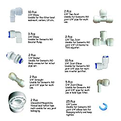 RO & other water purifier complete connector set of 10 type item Elbow, Tee