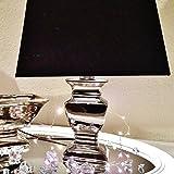 DRULINE 2 x 34 cm SILVER LADY NACHTLAMPE Tischlampe Schwarz Silber Tischleuchte Keramiklamp