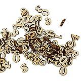 Dragonaur, bottoncini numeri e lettere dell'alfabeto in legno per fai da te, artigianato, cucito, scrapbook, 100pezzi, Legno, Wood Color, Number
