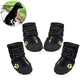 JunBo Pfotenschutz für Hunde Hundeschuhe Wasserdicht und Rutschfeste mit Reflektierender Riemen für Mittlere und Große Hunde (7#)
