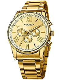 amazon co uk akribos xxiv watches akribos xxiv men s swiss multi function quartz watch gold dial analogue display and stainless steel bracelet