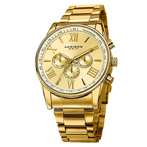 Akribos XXIV Men's AK736YG Ultimate Swiss Multifunction Gold-Tone Stainless Steel Bracelet Watch