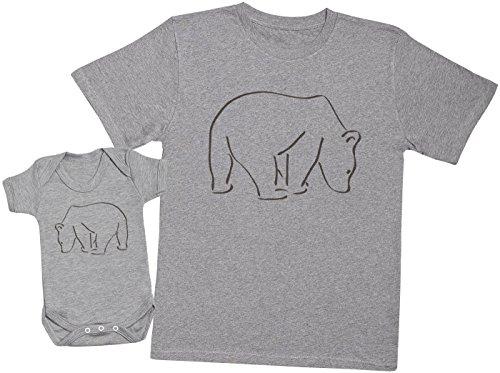 Zarlivia Clothing Bear and Baby Bear - Ensemble Père Bébé Cadeau - Hommes T-Shirt & Body bébé - Gris - M & 18-24 Mois