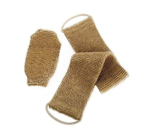 100% Natural Exfoliating Hemp Back Scrubber, Bath & Shower Body Brush Scrubber with Handle, Durable Machine Washable, Free Mitt