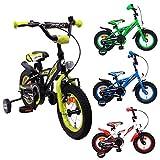 AMIGO - BMX Turbo - Bicicletta Bambini - 12'' (per 3-4 Anni) - con stabilizzanti - Nero/Giallo
