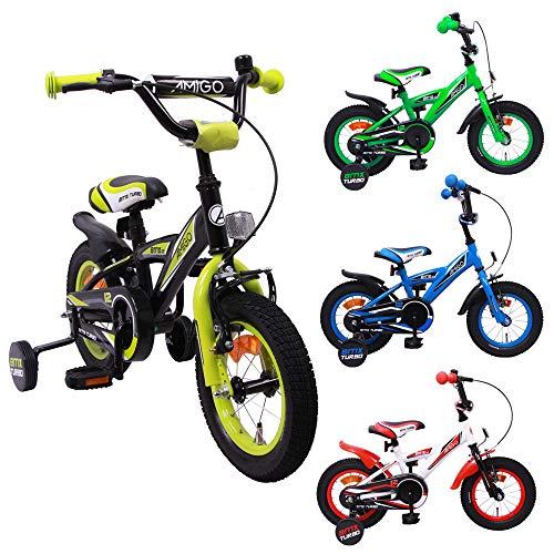 AMIGO BMX Turbo - Kinderfahrrad - 12 Zoll - Jungen - mit Rücktritt und Stützräder - ab 3 Jahre - Schwarz