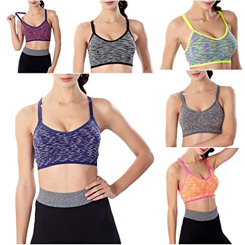 Smile YKK Soutien-gorge Brassière de Sport Femme Bra Yoga Fitness Gym Grande Taille Running Eté Rose