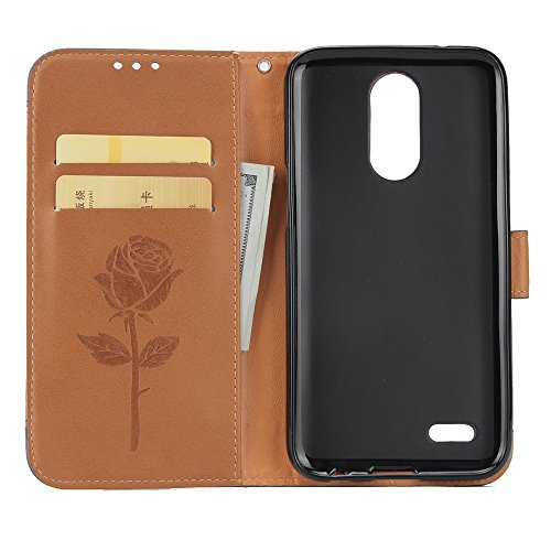 EKINHUI Case Cover Dual Color Matching Premium PU Leder Flip Stand Case Cover mit Card Cash Slots und Lanyard für LG K4 2017 ( Color : Black ) Brown