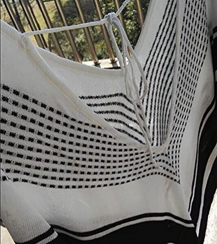 GenialES Paréo V Encolure Bikini Cover Up Taille Unique Blanc Blanc