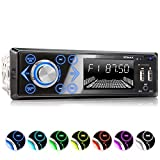 XOMAX XM-R272 Autoradio mit Bluetooth Freisprecheinrichtung I Handy Aufladen über 2. USB Anschluss I 7 LED Farben einstellbar I USB, SD, MP3, AUX I 1 DIN