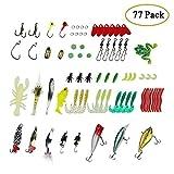 Boocy set di esche artificiale da pesca, 77 pezzi