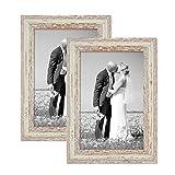 Photolini 2er Set Vintage Bilderrahmen 21x30 cm/DIN A4 Weiss Shabby-Chic Massivholz mit Glasscheibe und Zubehör/Fotorahmen/Nostalgierahmen