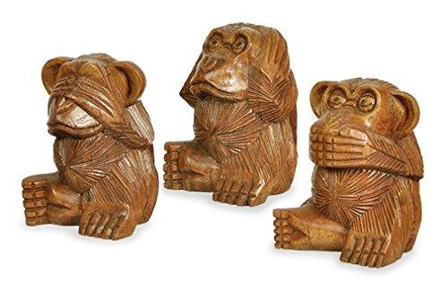 Deko Figur Affe im 3-er Set, braun aus Soar Holz, Höhe ca. 10 cm, Holzfigur Affen Äffchen Kunsthandwerk aus Bali handgefertigt