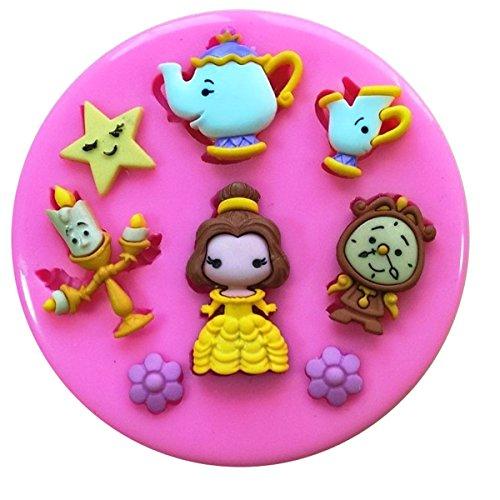 Beauty & The Beast Belle Frau Potts Chip Lumiere Cogsworth Silikonform Form für Kuchen dekorieren KUCHEN, Cupcake Topper Zuckerguss Sugarcraft von Fairie, Blessings
