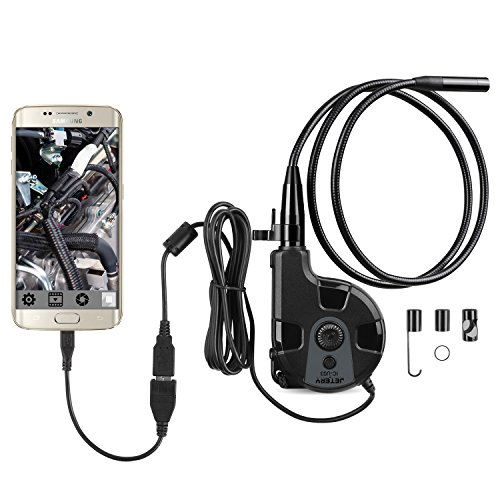 Jetery Endoscope 30fps 200 MP CMOS HD 720P Étanche Caméra Borescope d'inspection et de Diagnostic, 6 LED Blanche Réglables, OTG +USB 2.0, Compatible avec Android Smartphone, Appareil de Windows XP, VISTA et Windows 7 pour Canalisation, Tuyau et Mécanicien etc-Noir et Gris