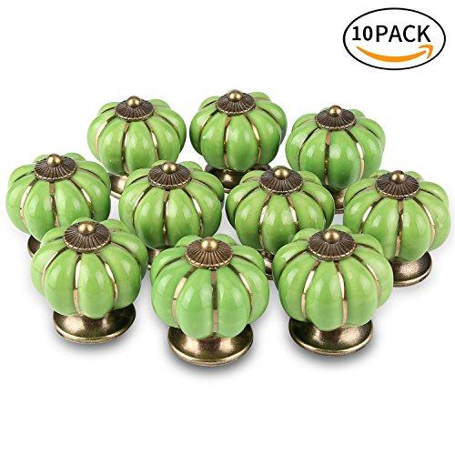 ONSON Schubladenknöpfe, 10Pcs Keramik Vintage Kürbis Schublade Knopf Türgriff ziehen für Küche und Home Möbel Dekorieren(Grün) (G10 2 Basis)