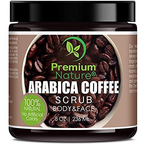 Arabica Coffee Scrub Kaffee Körperpeeling - Premium Nature Kaffee Body & Gesicht Peeling 100% Natürlich Damen Totes Meer Salz Olivenöl & Shea Butter Reduziert Akne Cellulite Feuchtigkeitsspendend -