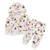Baby Kleidung Set,BeautyTop 2pcs Kleinkind Baby Mädchen Blumendruck Kleidung mit Kapuze Reißverschluss Mantel Jacke Top + Hosen Outfits Set (Weiß, 100/18-24 Monate)