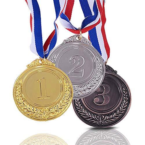 Onepine 3 Stücke Preis Medaillen Gold Silber Bronze Gewinner Medaille Erster Zweiter Rang Medaillen Medaillen für Champions mit Band -