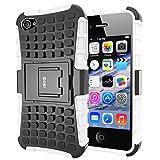 iDoer Coque iPhone 4S Armor Support Protection Étui Apple iPhone 4 Case Housse Etui Bumper Antichoc Cas Incassable Coque pour iPhone 4 4S (blanc)