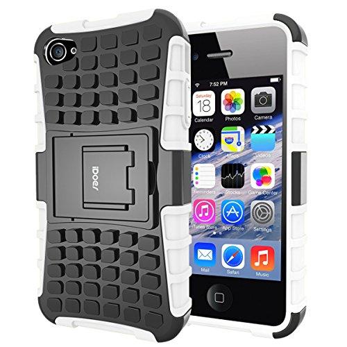 Custodia iPhone 4S,Cover iPhone 4,Shock-Absorption Bumper,Protettiva Stand Case,Copertura Protettiva in Plastica e TPU Custodia per iPhone 4 4S (verde) bianco