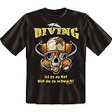 Diving - ist es zu tief bist Du zu schwach -- Cooles T-Shirt (nicht nur) für Wassersportler! -- Farbe: schwarz