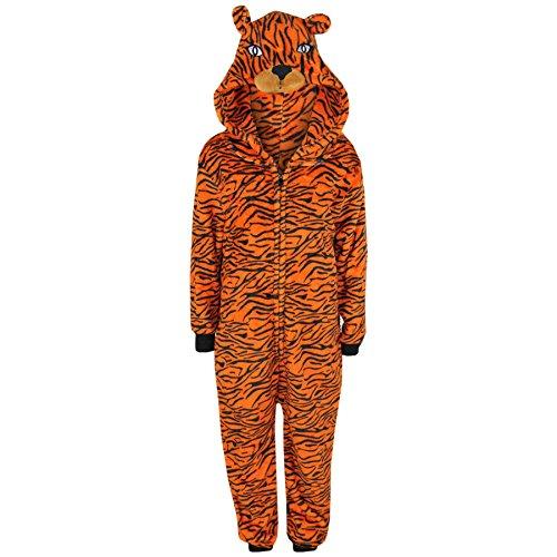 A2Z 4 Kinder Kinder Mädchen Jungen A2Z Einteiler ein Teil extra weich flauschig Tiger Alles in eins Halloween Kostüm New Alter 7 8 9 10 11 12 13 14 Jahre - Tiger, 13-14 Years