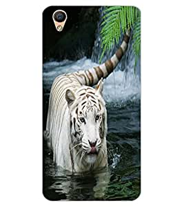 ColourCraft White Tiger Design Back Case Cover for OPPO R9