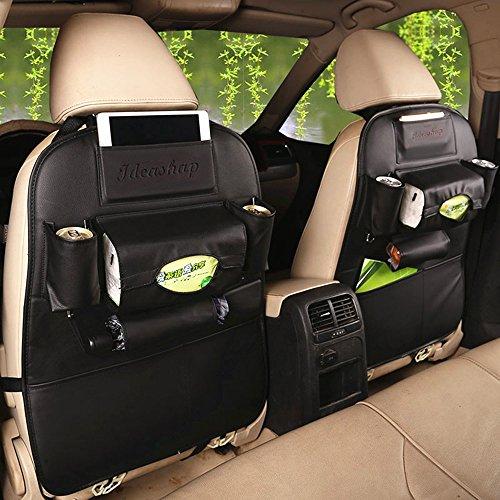 Ideashop PU Leder Multifunktions-Auto Speicher, Organizer Verstellbare 4. KFZ Sitz Tasche tragbar Wasserdicht Auto Tissue/Sitzbezug mit 7Taschen tragen iPad, Handys, Tasse, Regenschirm und Reise Zubehör für die meisten Car SUV minivan-black